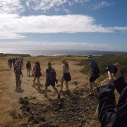 Students embarking on Green Sands Beach hike